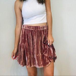 NWT Madewell pink pleated velvet skirt